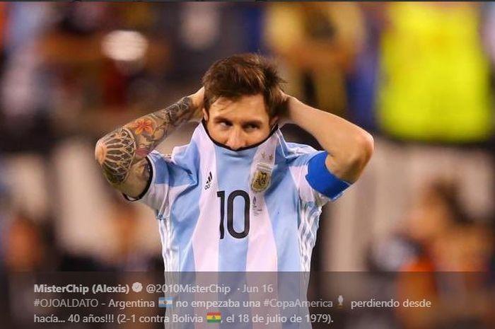 Ekspresi kapten timnas Argentina, Lionel Messi.