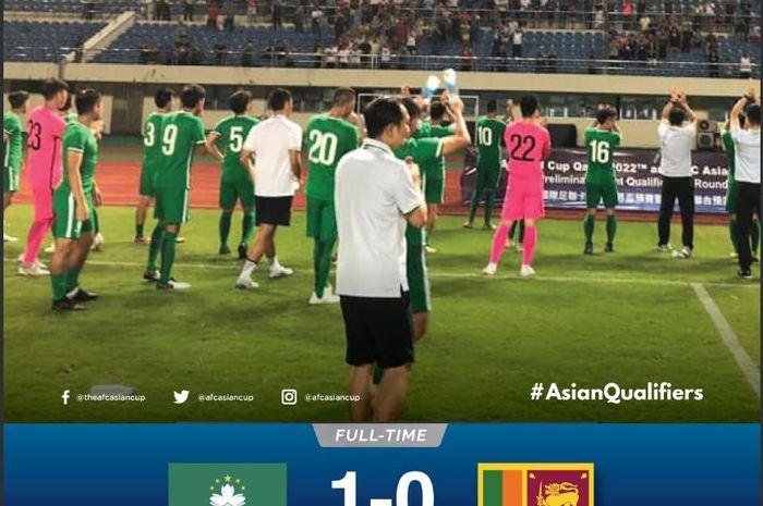 Timnas Makau mengalahkan timnas Sri Lanka dalam partai leg pertama kualifikasi Piala Dunia 2022 ronde I.