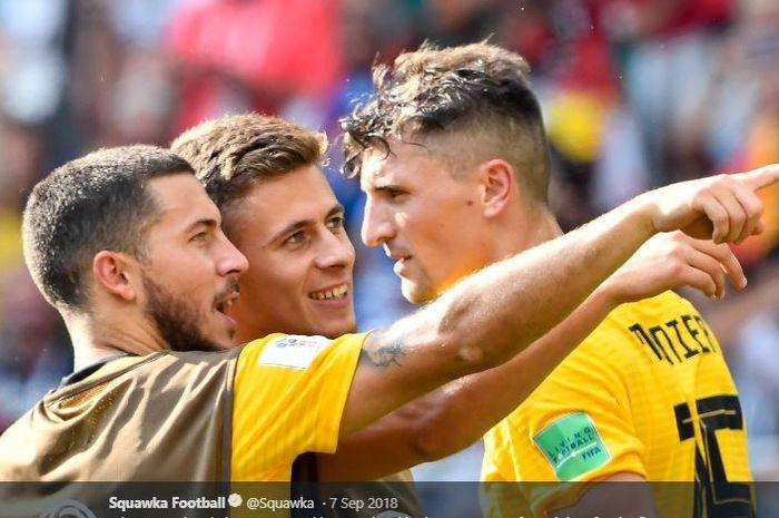 Para pemain timnas Belgia (dari kiri ke kanan), Eden Hazard, Thorgan Hazard, dan Thomas Meunier.