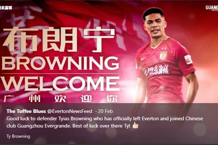 Ucapan selamat datang untuk Tyias Browning saat resmi berseragam Guangzhou Evergrande