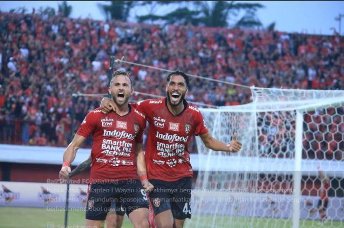 Ilija Spasojevic mencetak gol penentu kemenangan Bali United atas PSIS Semarang dalam lanjutan Liga 1 2019, 22 Juni 2019.