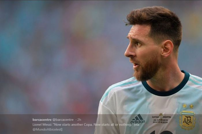 Lionel Messi saat membela timnas Argentina.