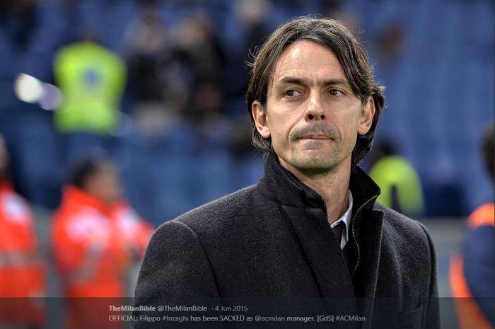 Filippo Inzaghi saat masih melatih AC MIlan.