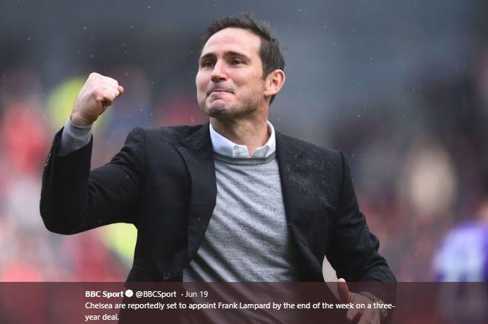Pelatih Derby County, Frank Lampard dijagokan bakal melatih Chelsea pada musim 2019-2020