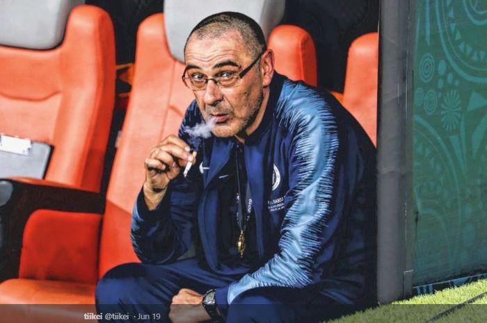 Pelatih Juventus, Maurizio Sarri, saat menangani Chelsea.