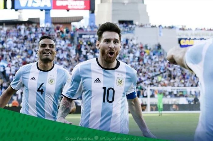 Ekspresi megabintang timnas Argentina, Lionel Messi.