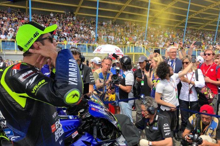 Pembalap Monster Energy Yamaha, Valentino Rossi jelang melakoni seri MotoGP Belanda 2019, Minggu (30/6/2019)