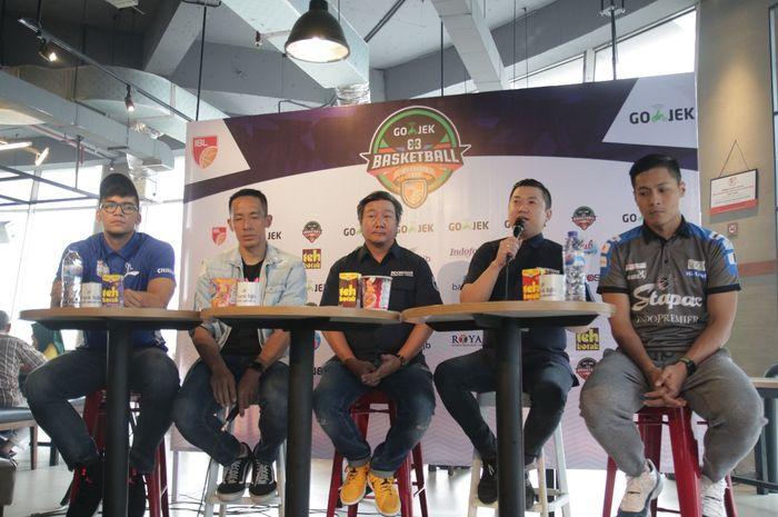 Suasana konferensi pers kompetisi 3x3 Basketball 2019 di Jakarta, Kamis (4/7/20190.