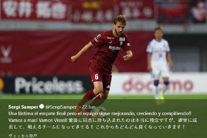 Aksi eks pemain tengah FC Barcelona, Sergi Samper yang kini membela klub Liga Jepang, Vissel Kobe.