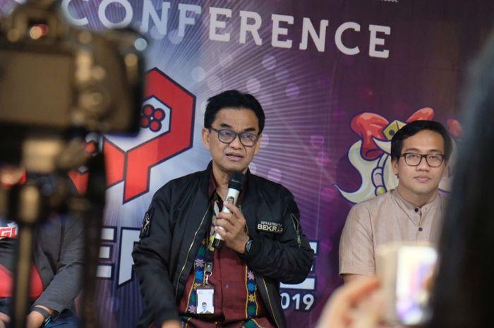 Hari Sungkari, Deputi Infrastruktur Bekraf, berbicara kepada media di acara konpers Bekraf Game Prime 2019.