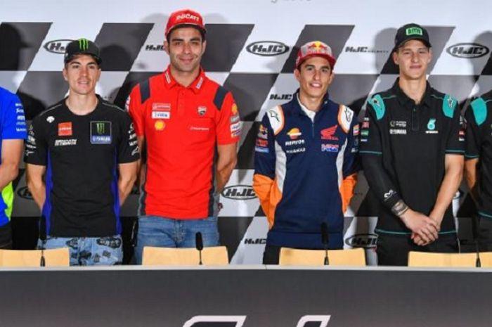 (dari ki-ka) Joan Mir, Maverick Vinales, Danilo Petrucci, Marc Marquez, Fabio Quartararo, dan Franco Morbidelli saat menghadiri sesi konferenis pers MotoGP Jerman 2019, Kamis (4/7//2019)