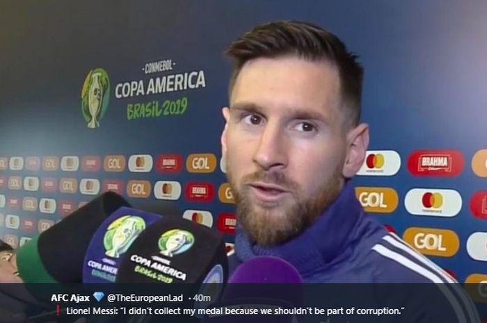 Lionel Messi memberikan pernyataan pedas usai berakhirnya pertandingan Argentina melawan Cile (7/7/2019).