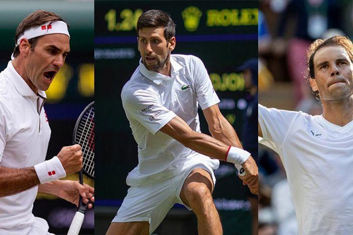 (dari ki-ka) Roger Federer, Novak Djokovic, Rafael Nadal sama-sama berhasil menembus babak 16 besar Wimbledon 2019.