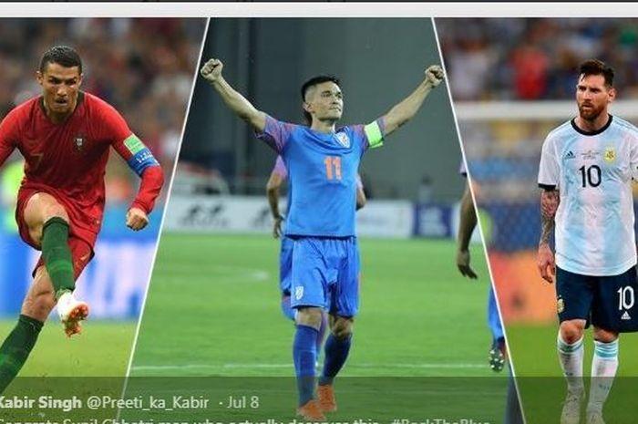 Dari kiri ke kanan, Cristiano Ronaldo, Sunil Chhetri, dan Lionel Messi.