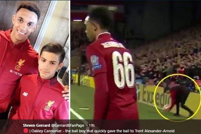 Oakley Cannonier, bocah anak gawang saat menjadi pahlawan Liverpool kala melawan Barcelona di semifinal Liga Champions, mencetak gol perdana bagi tim U-18 Liverpool