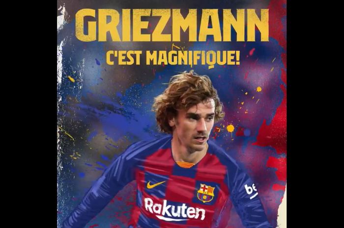 Grafis yang dibuat Barcelona untuk mengumumkan transfer Antoine Griezmann dari Atletico Madrid pada Jumat (12/7/2019).