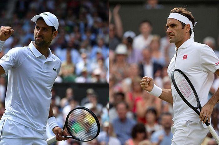 Novak Djokovic (kiri) dan Roger Federer (kanan) bakal saling berhadapan dalam laga final nomor tunggal putra Wimbledon 2019, Minggu (14/7/2019)