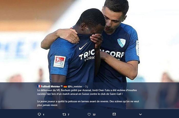 Bintang muda Arsenal, Jordi Osei-Tutu menangis usai mendapat pelecehan rasial dalam laga persahabatan.