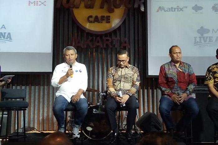 Suasana konferensi pers Mola TV di Hard Rock Cafe, Jakarta, Kamis (18/7/2019).
