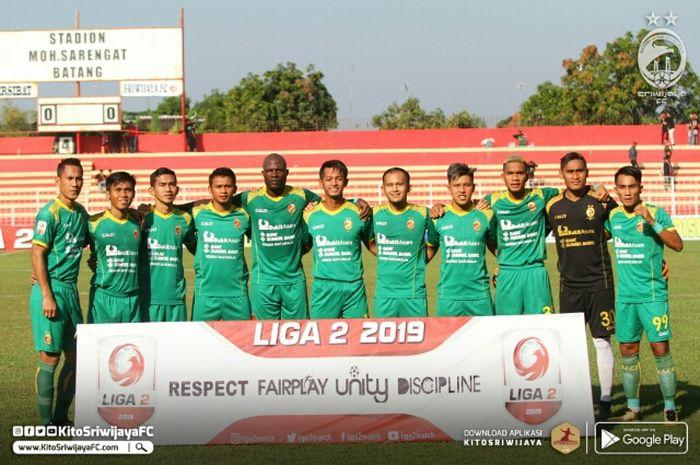 Skuad Sriwijaya FC saat menjalani laga di babak penyisihan wilayah barat Liga 2 2019