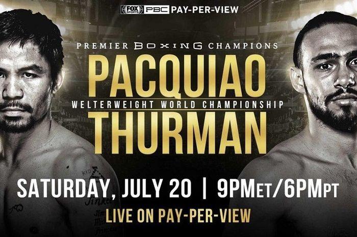 Poster laga tinju perebutan gelar WBA (Super) welterweight antara Keith Thurman (kanan) kontra Manny Pacquiao (kiri) yang digelar Minggu (21/7/2019) siang WIB