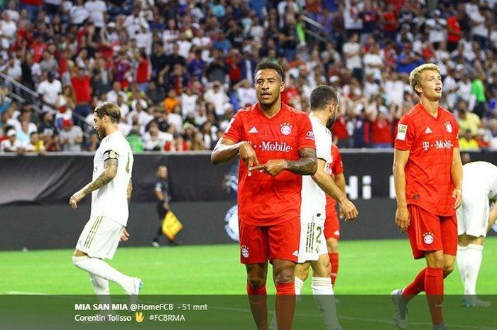 Corentin Tolisso membuka keunggulan Bayern Muenchen atas Real Madrid pada laga International Champions Cup