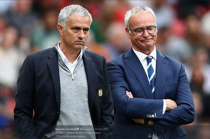 Jose Mourinho (kiri) dan Claudio Ranieri.