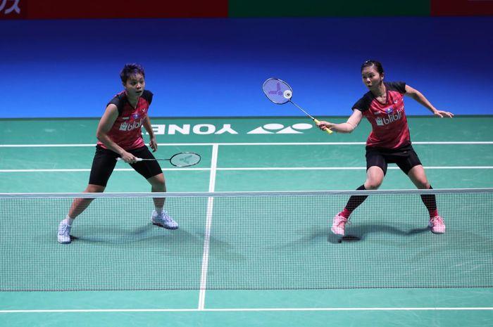 Pasangan ganda putri Indonesia, Greysia Polii/Apriyani Rahayu, tampil pada perempat final Japan Open 2019 di Musashino Forest Sport Plaza, Tokyo, Jepang, Jumat (26/7/2019).