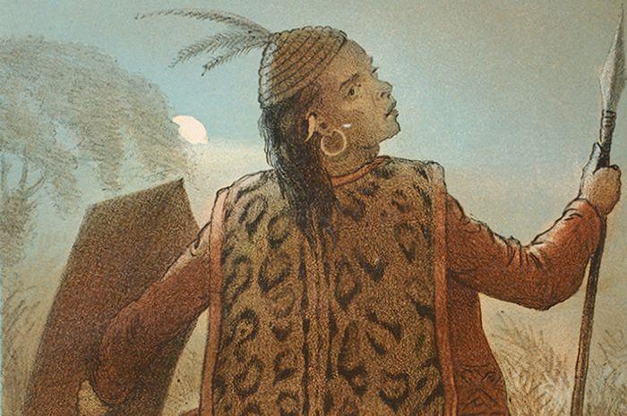 Litografi berjudul 'On the Head Hunting' karya Carl Alfred Bock, yang melukiskan seorang lelaki Dayak dengan peranti berperang.