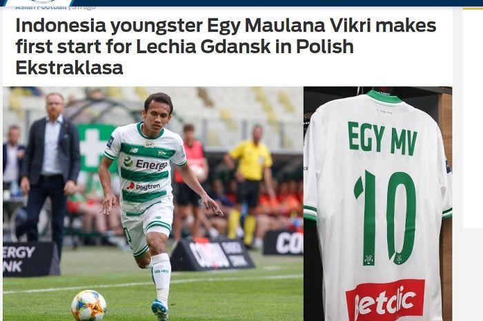 Pemberitaan Fox Sport Asia tentang debut starter Egy Maulana Vikri untuk Lechia Gdansk di Liga Polandia musim 2019-2020.