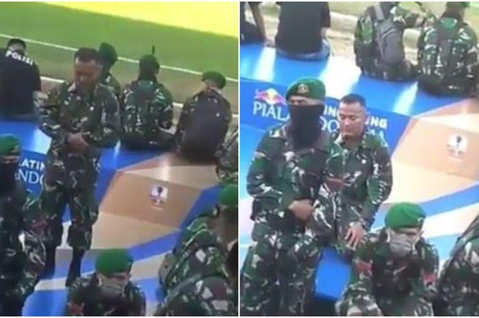 Jadi Sorotan Netizen, Personel TNI Jalankan Ibadah Shalat di Tengah Situasi Tegang Supporter PSM di Stadion Mattoangin Makassar