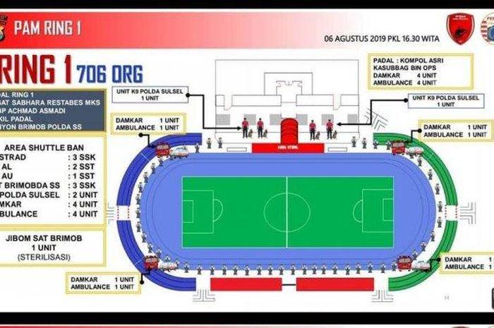 Info grafis yang dirilis Polda Sulawesi Selatan untuk pengamanan pertandingan tunda leg kedua Final Piala Indonesia.