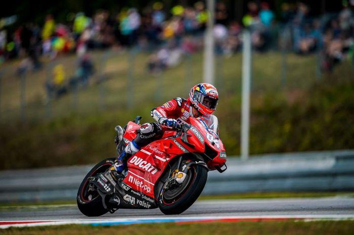 Pembalap Mission Winnow Ducati, Andrea Dovizioso saat melakoni babak kualifikasi MotoGP Republik Ceska 2019, Sabtu (3/8/2019)