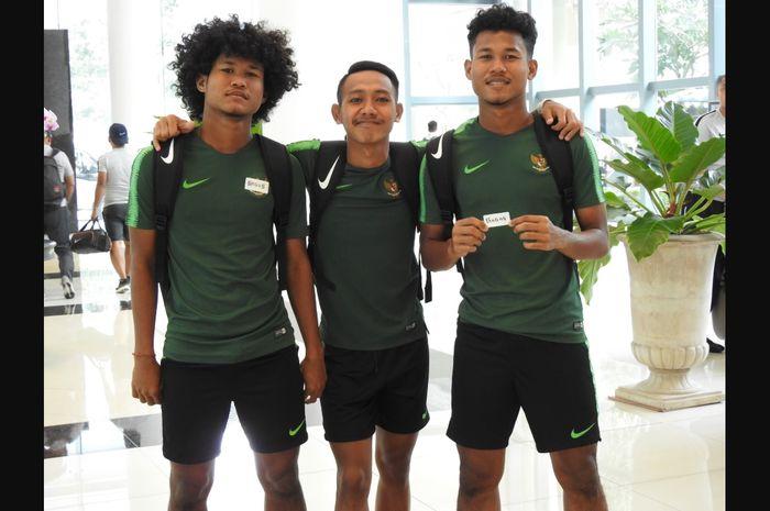 Pemain timnas U-18 Indonesia, Amiruddin Bagus Kaffa (kiri), Beckham Putra Nugraha (tengah), Amiruddin Bagas Kahfi (kanan)