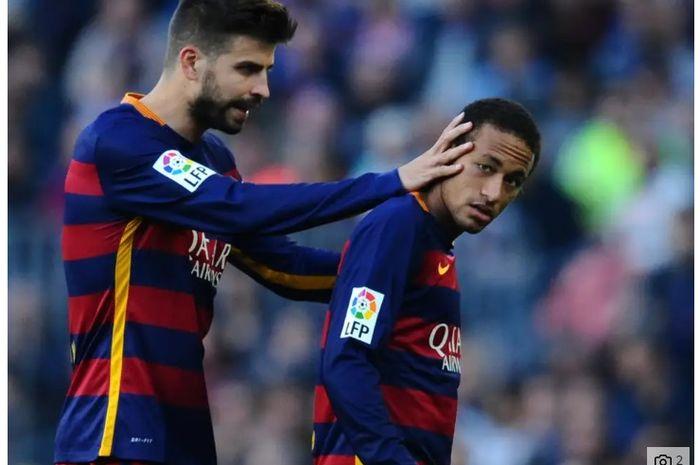 Gerard Pique dan Neymar saat berseragam Barcelona.