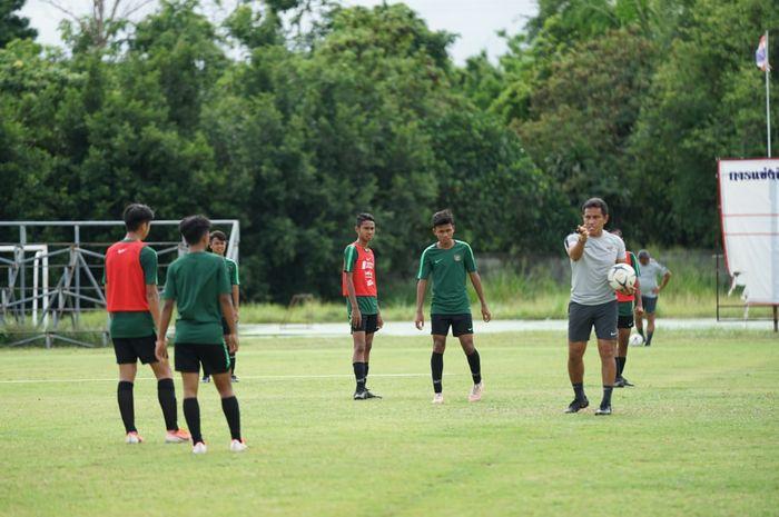 Latihan timnas U-15 Indonesia di Thailand, Kamis (8/8/2019).