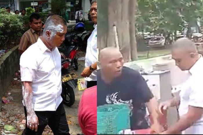 PKL Nekat Siram Kepala Satpol PP Medan dengan Air Mendidih