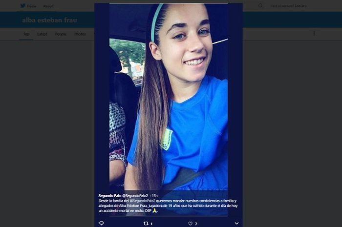 Alba Esteban Frau, pesepak bola wanita Spanyol berusia 19 tahun yang tewas karena kecelakaan sepeda motor.