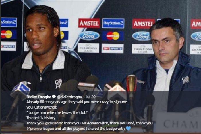 Mantan penyerang dan pelatih Chelsea, Didier Drogba (kiri), Jose Mourinho (kanan).