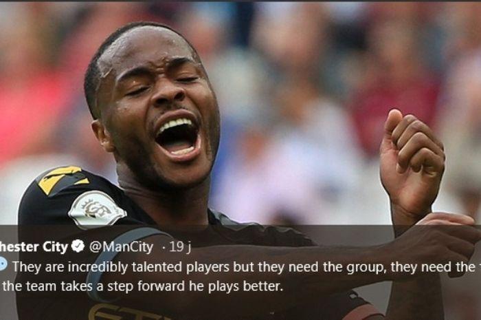 Penyerang Manchester City, Raheem Sterling, dalam laga kontra West Ham United pada Sabtu (10/8/2019).