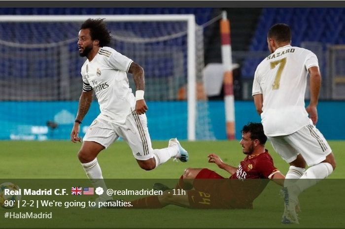 Bek sayap Real Madrid, Marcelo, dalam laga uji coba melawan AS Roma di Stadion Olimpico, Minggu (11/8/2019).