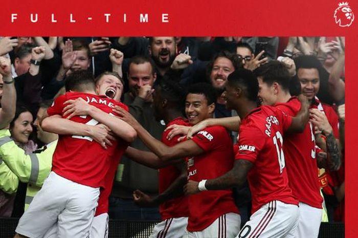 Para pemain Manchester United merayakan gol yang dicetak ke gawang Chelsea dalam laga Liga Inggris di Stadion Old Trafford, 11 Agustus 2019.