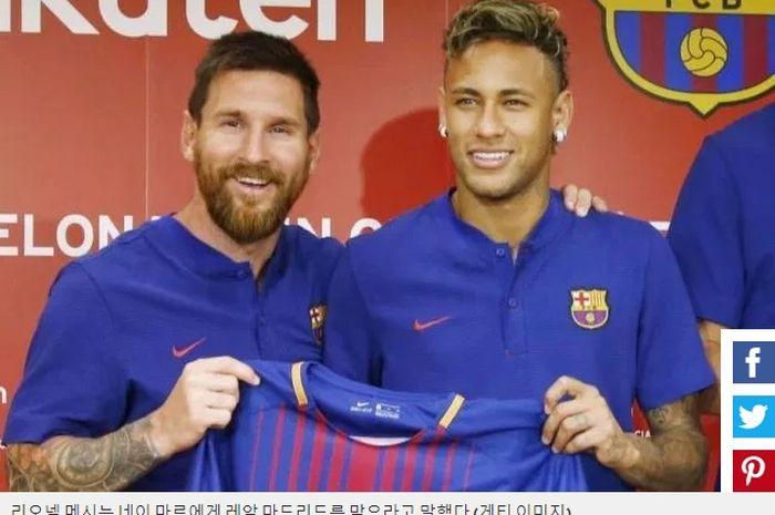 Lionel messi dan Neymar kala berkostum Barcelona