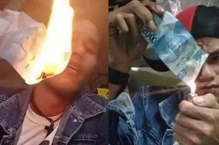 Aksi Pembakaran Uang Kertas yang Dilakukan Oleh Seorang Pria Berhasil Viral di Media Sosial