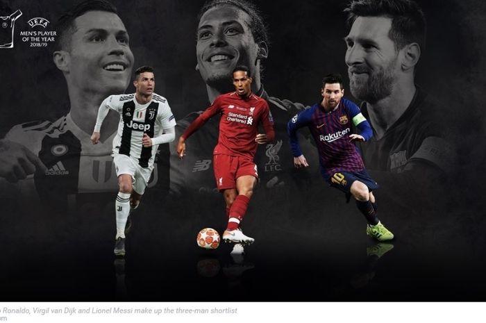 Cristiano Ronaldo, Virgil van Dijk, dan Lionel Messi