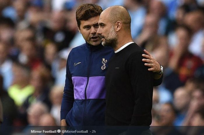 Pelatih Tottenham Hotspur, Mauricio Pochettino (kiri), bersama juru taktik Manchester City, Pep Guardiola (kanan).