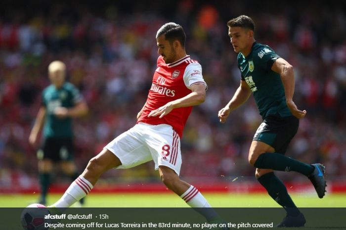 Salah satu aksi dari pemain Arsenal, Dani Ceballos.