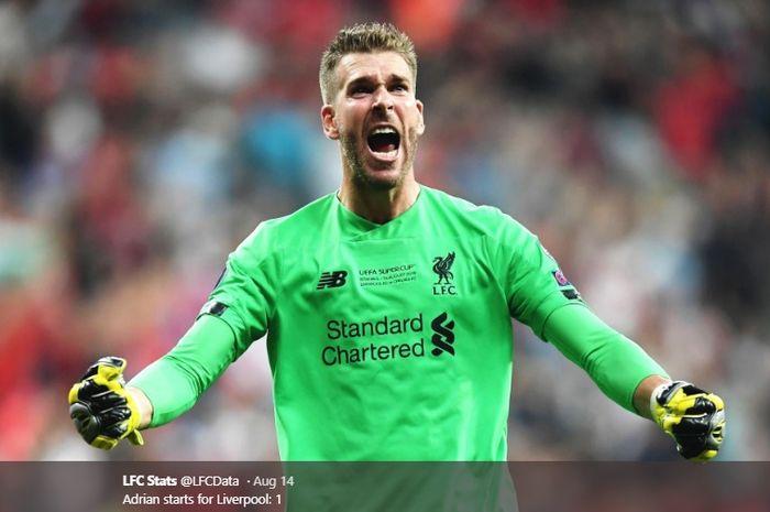 Kiper baru Liverpool yang didapat secara gratis dari West Ham United, Adrian.