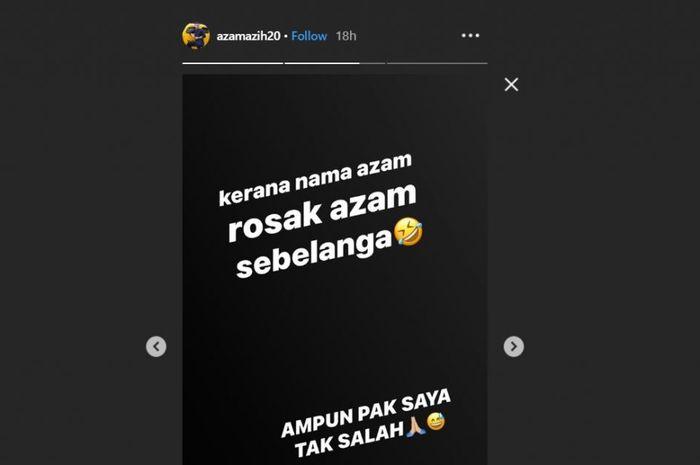 Unggahan akun Instagram pemain Pahang FA, Azam Azih.