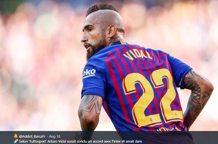 Gelandang tengah milik Barcelona, Arturo Vidal.